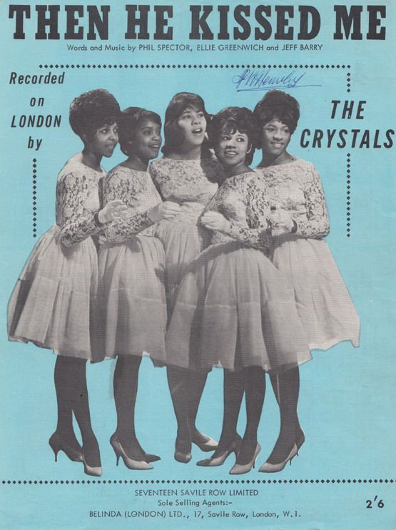 The Crystals Then He Kissed Me 45 Record Piano Sheet Music
