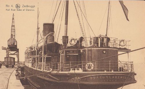 Zeebrugge Hull Boat Duke Of Clarence Ship Antique Postcard Unused Mint