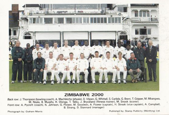 Zimbabwe 2000 G A Flower T Taibu H Streak International Team Cricket Postcard