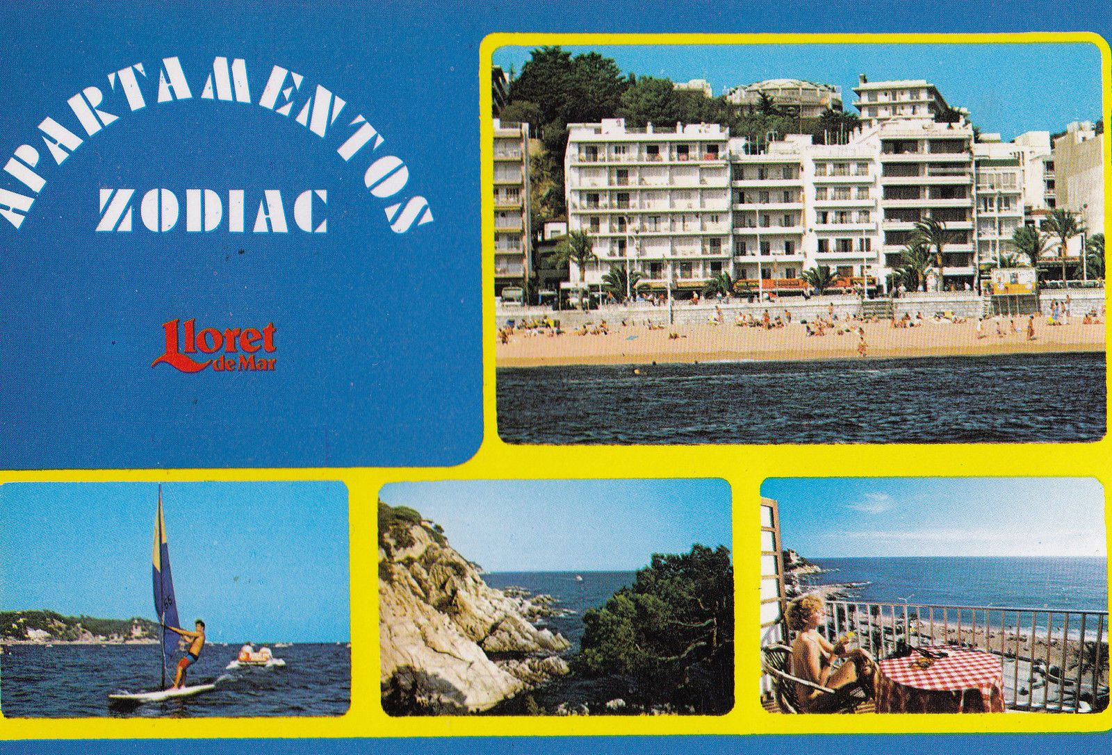 Zodiac Apartmentos Lloret De Mar Sailing Boats Spanish Postcard