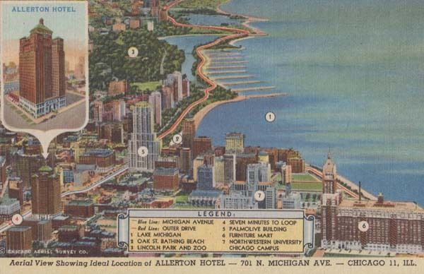 Allerton Chicago Hotel Michigan Avenue Map Aerial MInt Postcard on