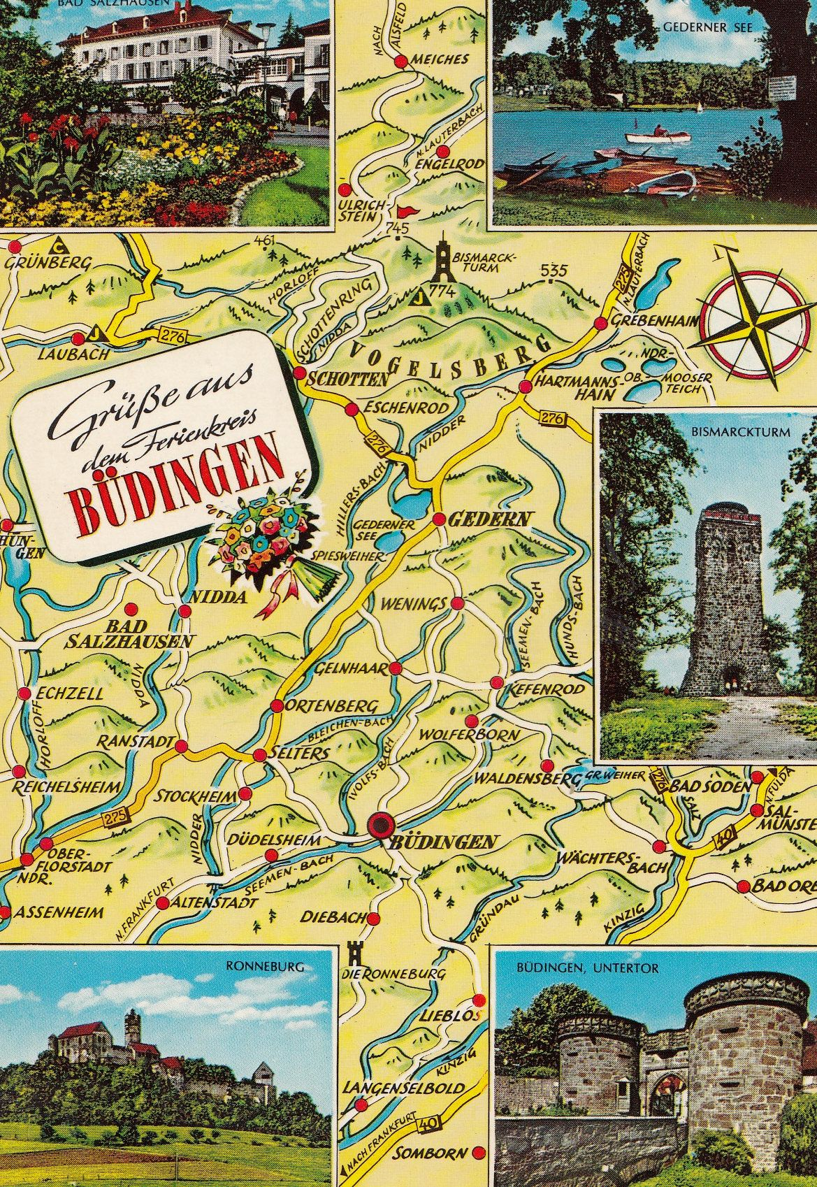 Budingen Germany Map.Budingen German Map Karte Postcard