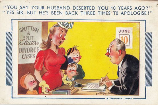 Divorce Solicitor Cheating Husband Sexy Lady Seaside Comic Humour Postcard