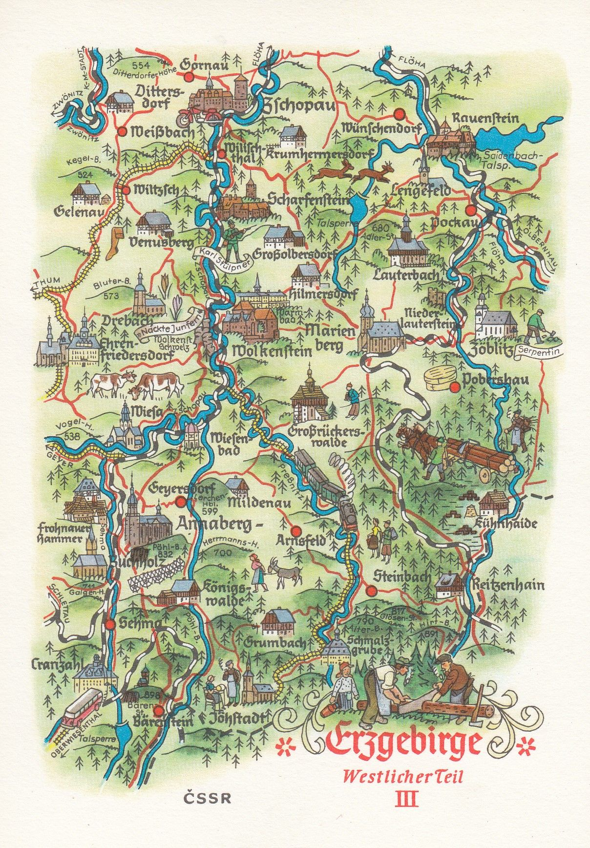 Map Of Germany Mountains.Erzebirge Ore Mountains Bohemian Borders German Germany Map Postcard