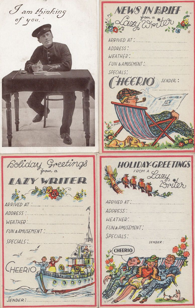 Holiday Greetings From A Lazy Writer I M Thinking Of You 4x Vintage