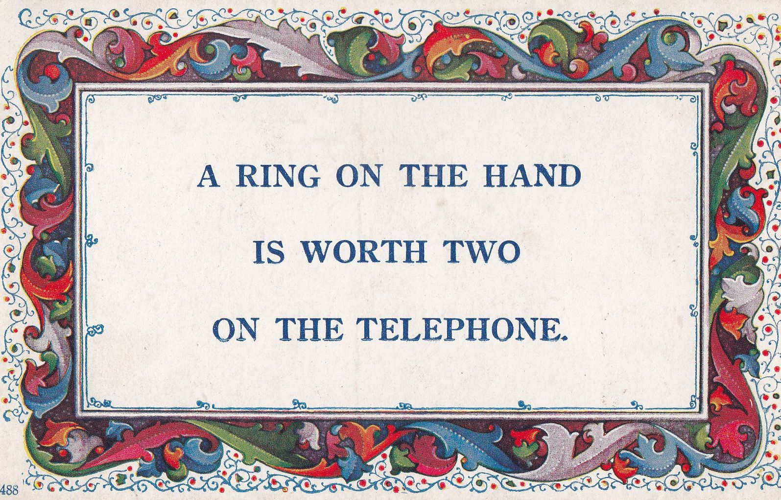 Telephone Ring On The Hand Proverb Songcard Old Postcard