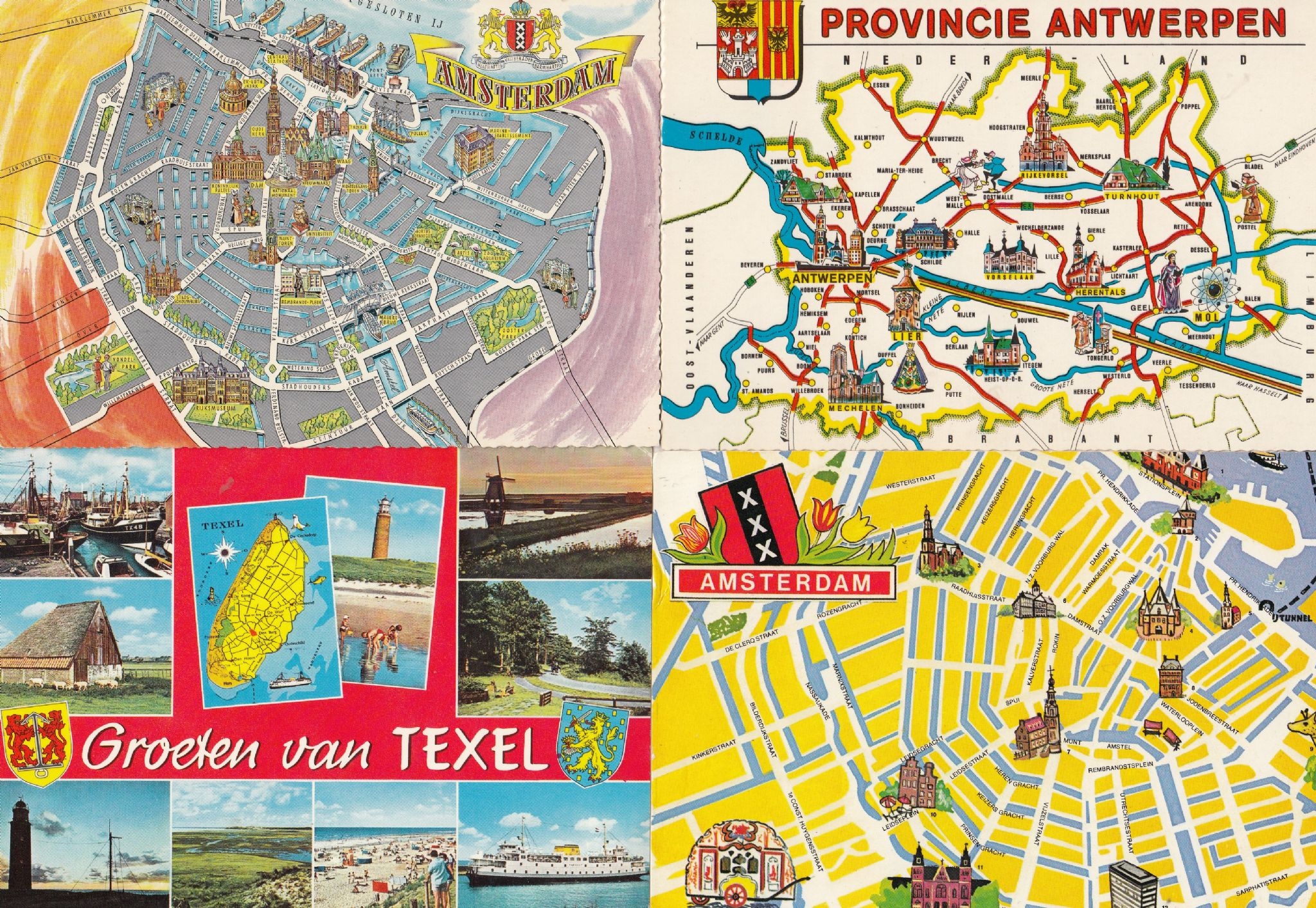 Texel Amsterdam Antwerpen 4x Dutch Map Postcard s on