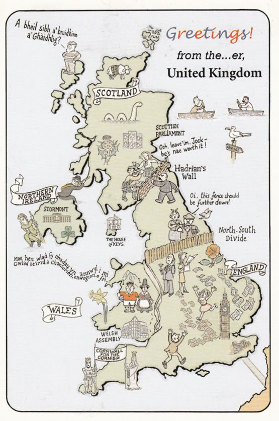 the north south divide map british tourist comic humour postcard