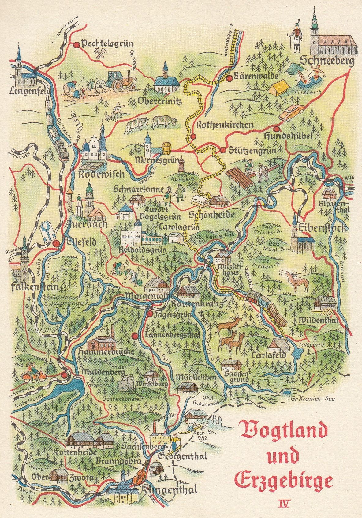 Map Of Germany Mountains.Zeulenroda Triebes Gries Thuringia Mountains German Karte Map Postcard